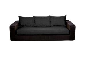 Photograph of Black Rattan Three Seater Lounge