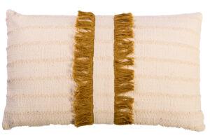Photograph of Cream and Mustard Fringed Rectangular Cushion – 30cm x 50cm