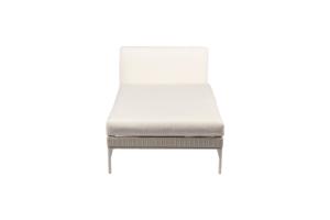 Photograph of White Rattan Chaise Lounge - White Cushions