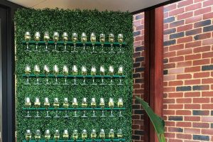 Photograph of Champagne Wall with Faux Green Hedge 2.4mH x 1.2mW