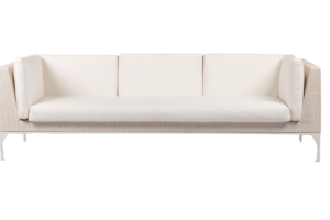 Photograph of White Rattan 3 Seater Lounge with arms - White Cushions