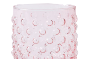 Photograph of Glass Dimple Votive Pink – 9cmW x 10cmH