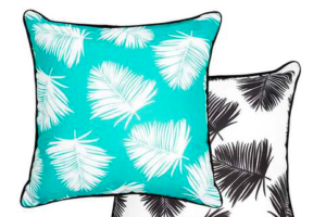 Photograph of Teal, White and Navy Palm Leaf Cushion