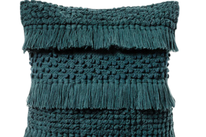 Photograph of Teal Tassel Cushion – 45cmSQ