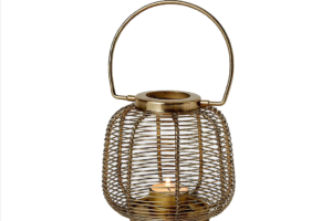 Photograph of Gold Wire lantern Small – 13cmH x 12cmW