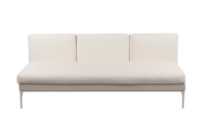 Photograph of White Rattan 3.5 Seater Lounge with no arms – 195cmW x 90cmD  – White Cushions