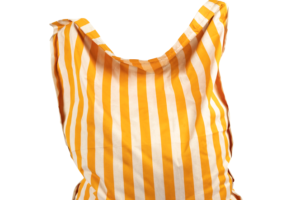 Photograph of Bean Bag Large – Yellow and White Stripe – 180cm x 140cm x 25cm