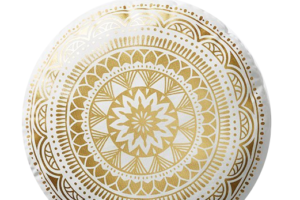 Photograph of Gold and White Round Mandala Cushion