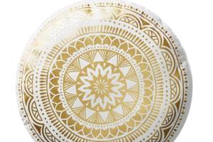 Photograph of Gold and White Round Mandala Cushion