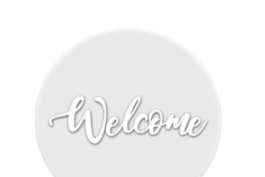 Photograph of Clear Perspex Welcome Sign Round – 1mD