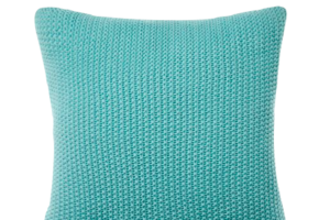 Photograph of Teal Knitted Cushion – 45cmSQ