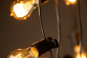 Photograph of Festoon Lights Black 10m (with 1m spacing)
