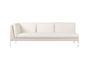Photograph of White Rattan 3.5 Seater Lounge with right arm – 2.2mW x 90cmD  – White Cushions
